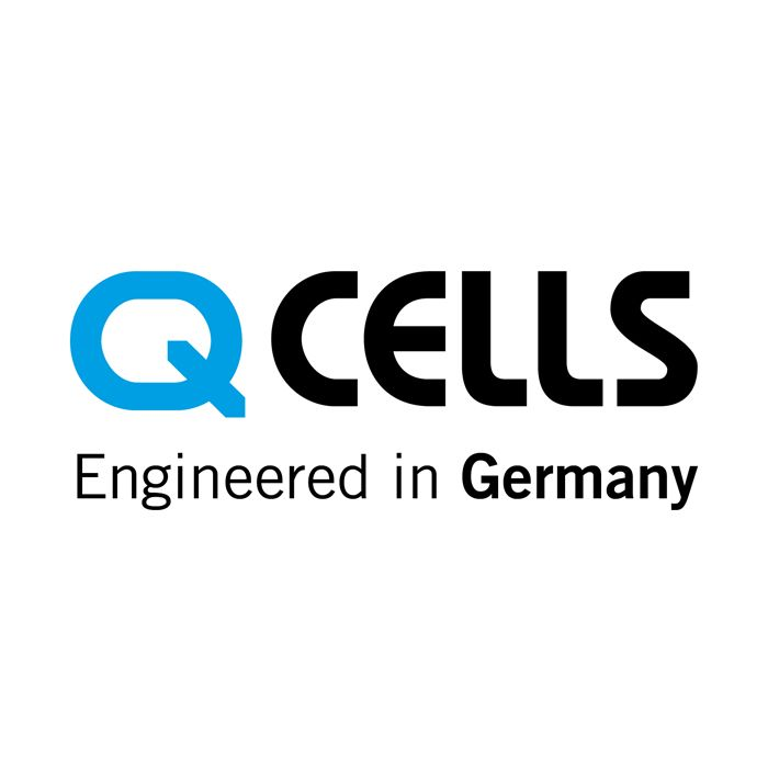 Qcells Engineered in Germany logo on white background