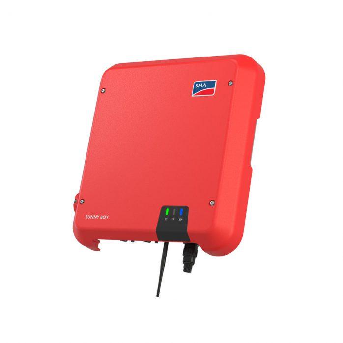 Red SMA Solar inverter on white background