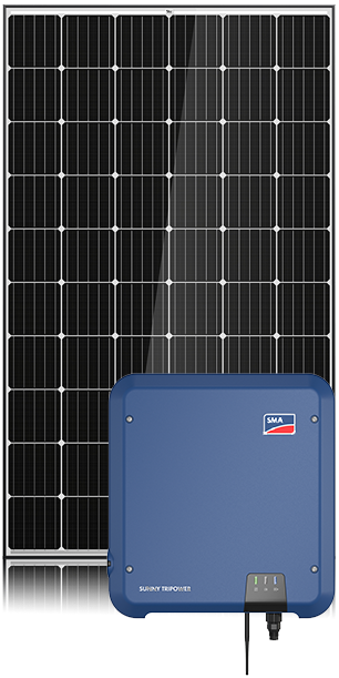 SMA 10.36kW Energy Saver System with solar panel in background