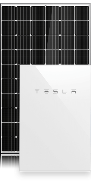 Tesla 6.66kW Battery System with solar panel in background