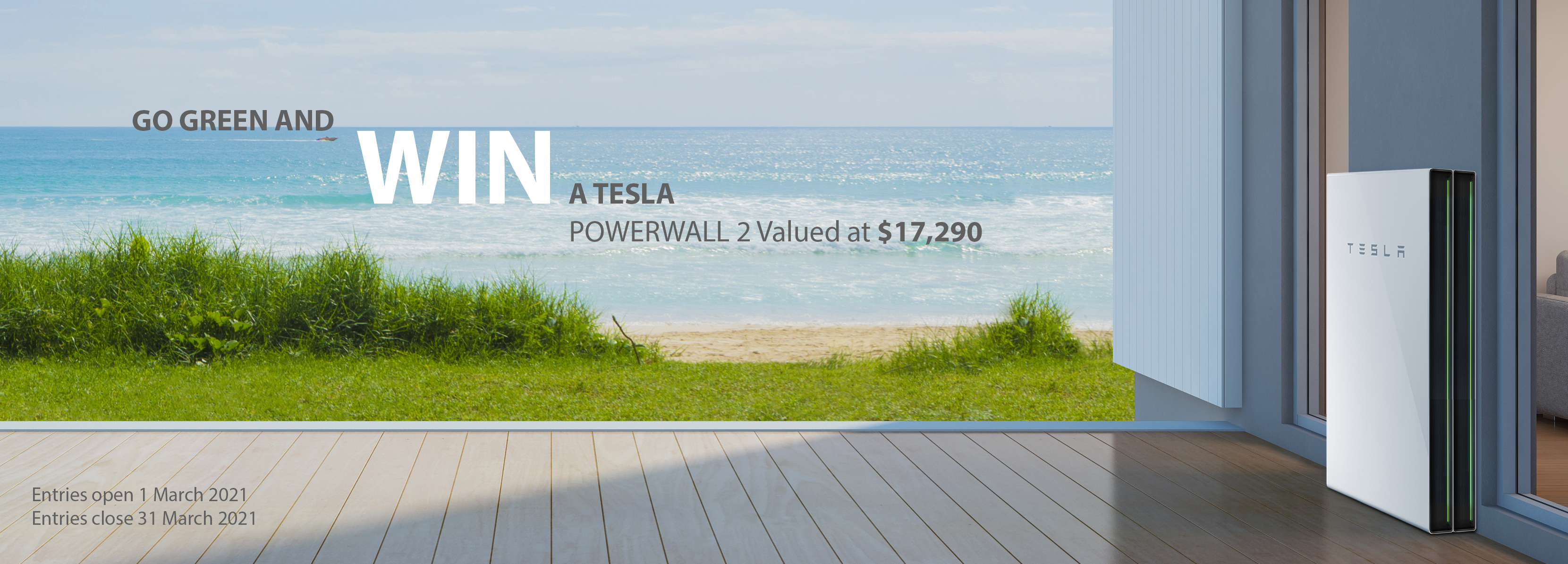 Tesla offer promo banner with an image of sea on a sunny day